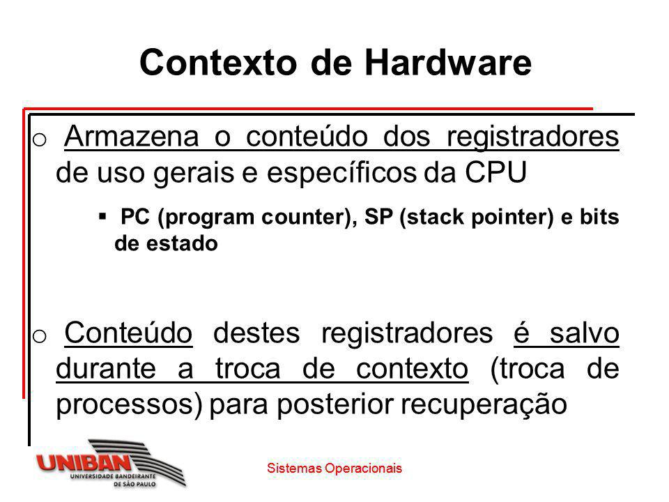 Contexto de Hardware o Armazena o conteúdo dos registradores de uso gerais e específicos da CPU PC (program counter), SP (stack pointer) e bits de est