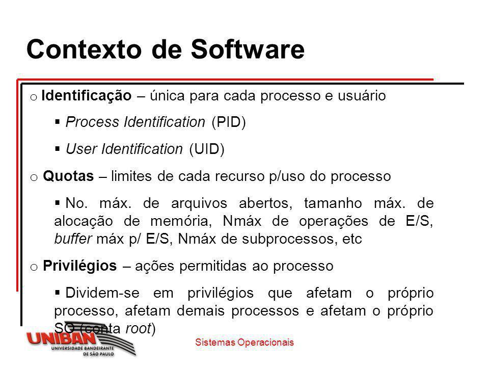 o Identificação – única para cada processo e usuário Process Identification (PID) User Identification (UID) o Quotas – limites de cada recurso p/uso d