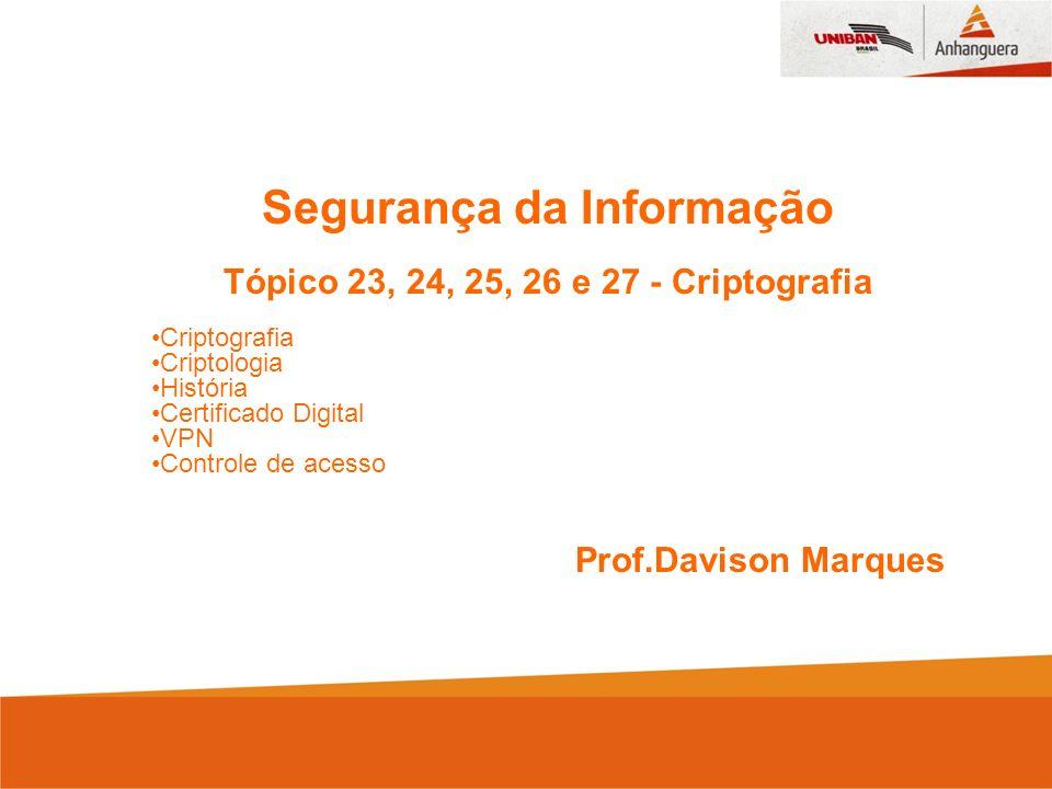 Segurança da Informação Tópico 23, 24, 25, 26 e 27 - Criptografia Criptografia Criptologia História Certificado Digital VPN Controle de acesso Prof.Davison Marques