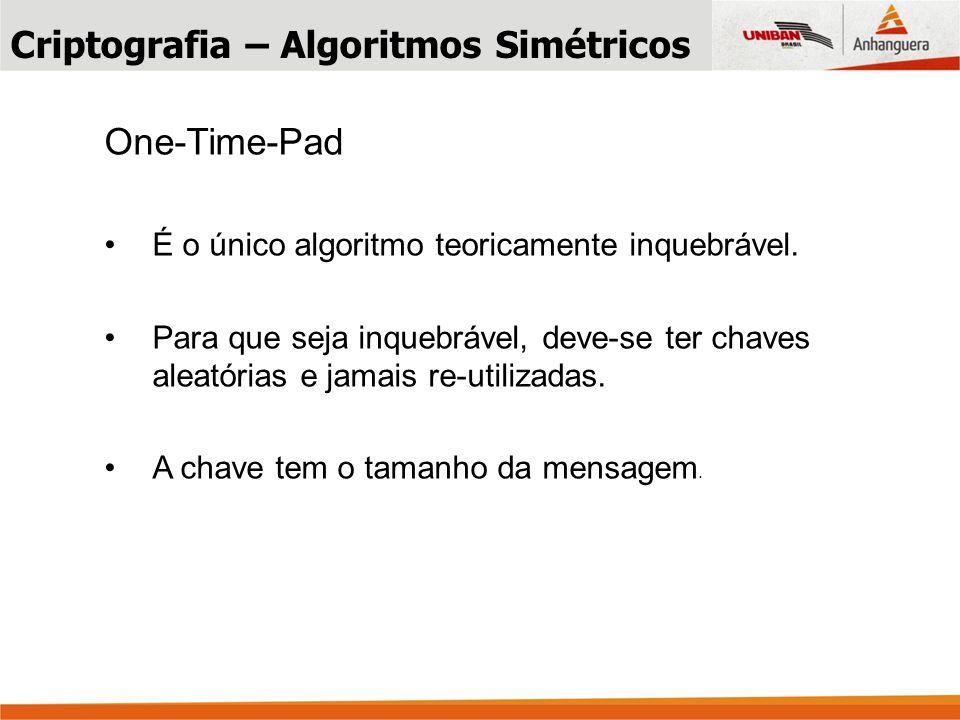 One-Time-Pad É o único algoritmo teoricamente inquebrável.