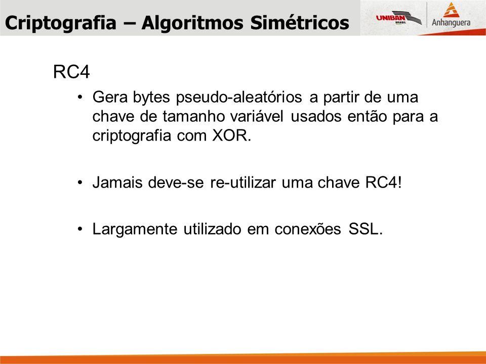 RC4 Gera bytes pseudo-aleatórios a partir de uma chave de tamanho variável usados então para a criptografia com XOR.