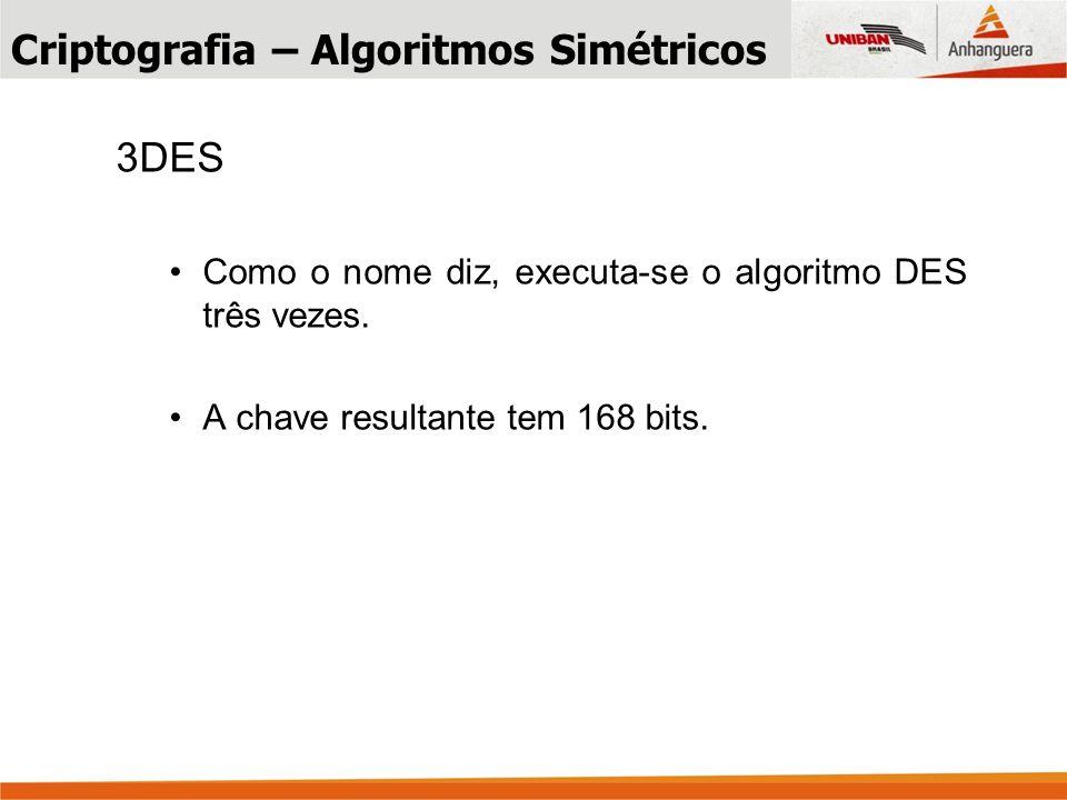3DES Como o nome diz, executa-se o algoritmo DES três vezes.