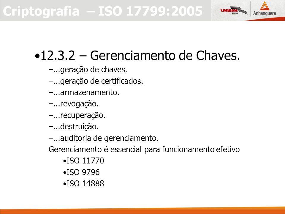 Criptografia – ISO 17799:2005 12.3.2 – Gerenciamento de Chaves.