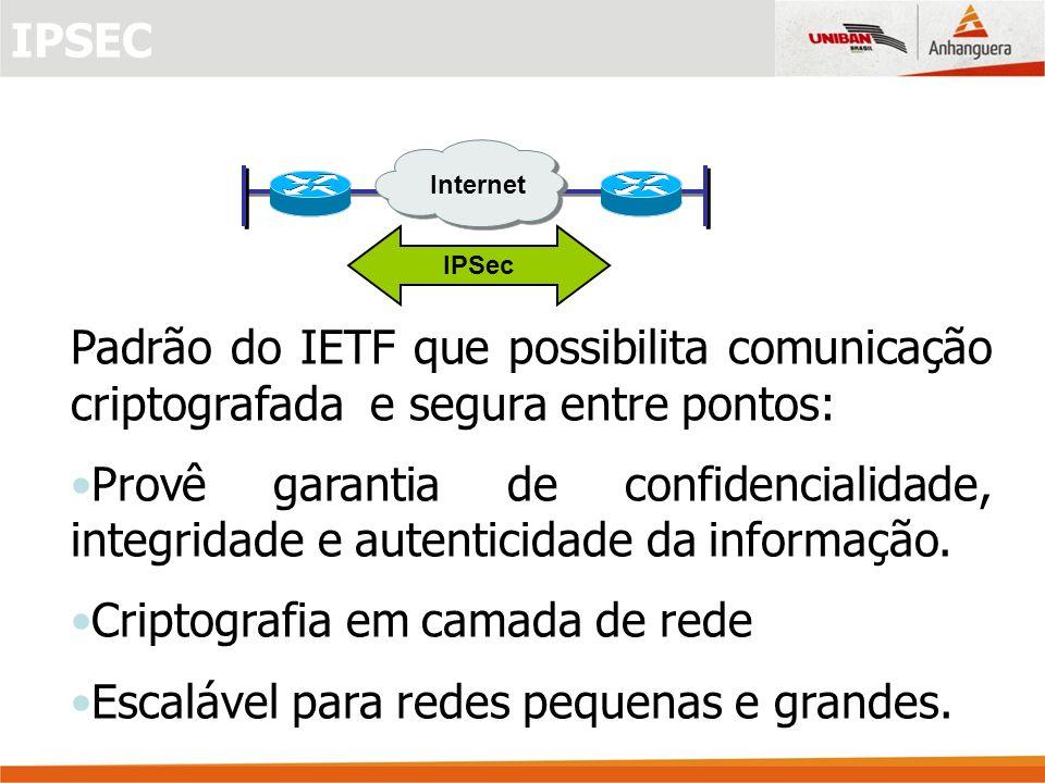 Padrão do IETF que possibilita comunicação criptografada e segura entre pontos: Provê garantia de confidencialidade, integridade e autenticidade da informação.