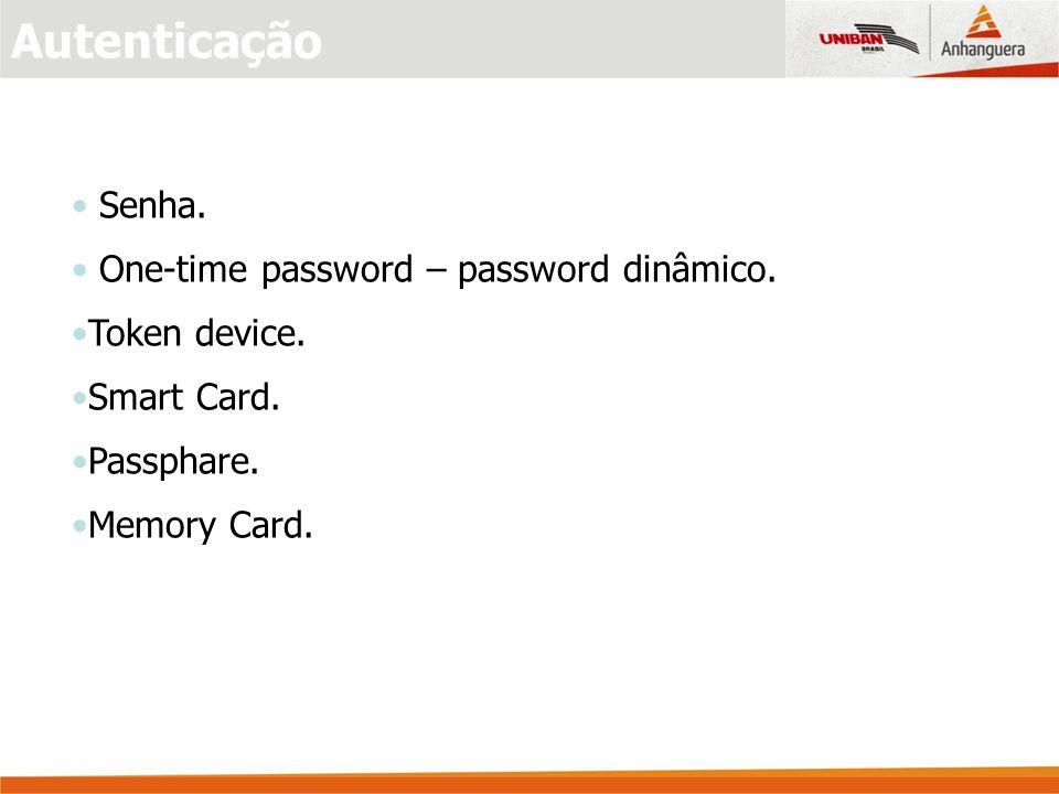 Senha.One-time password – password dinâmico. Token device.