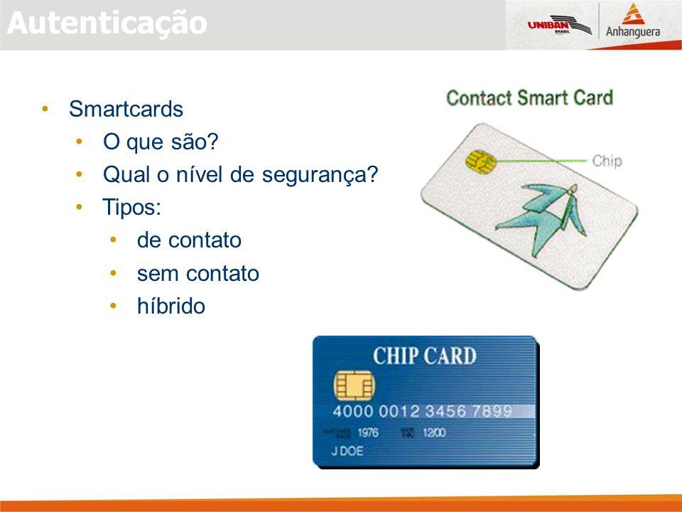 Smartcards O que são? Qual o nível de segurança? Tipos: de contato sem contato híbrido
