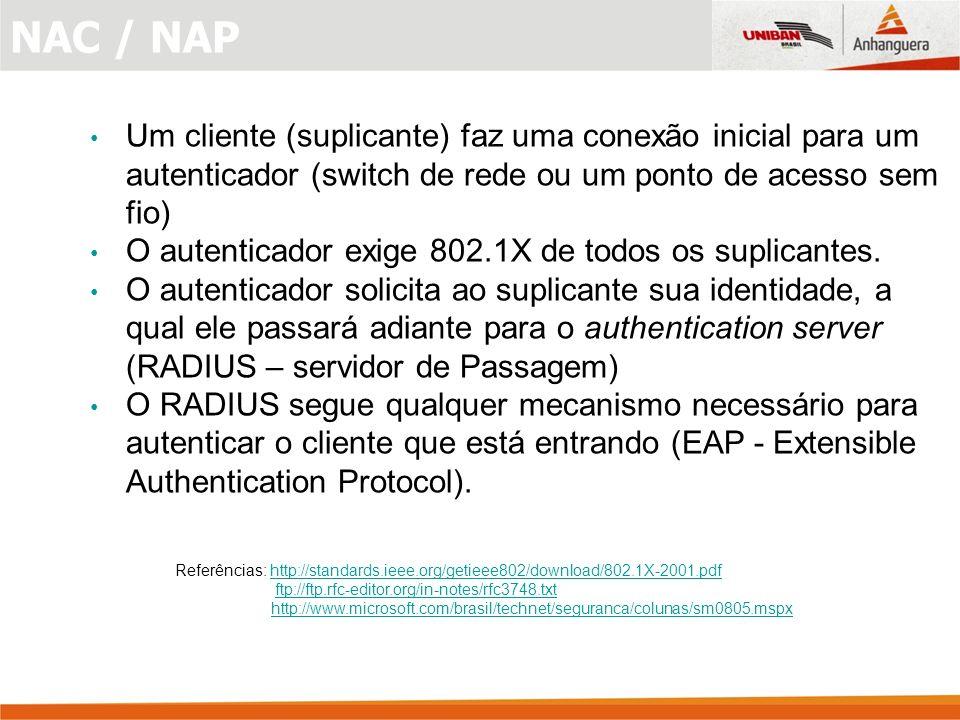 Um cliente (suplicante) faz uma conexão inicial para um autenticador (switch de rede ou um ponto de acesso sem fio) O autenticador exige 802.1X de todos os suplicantes.