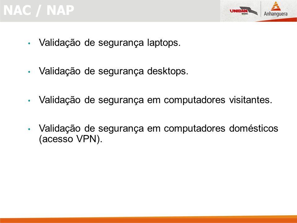 Validação de segurança laptops.Validação de segurança desktops.