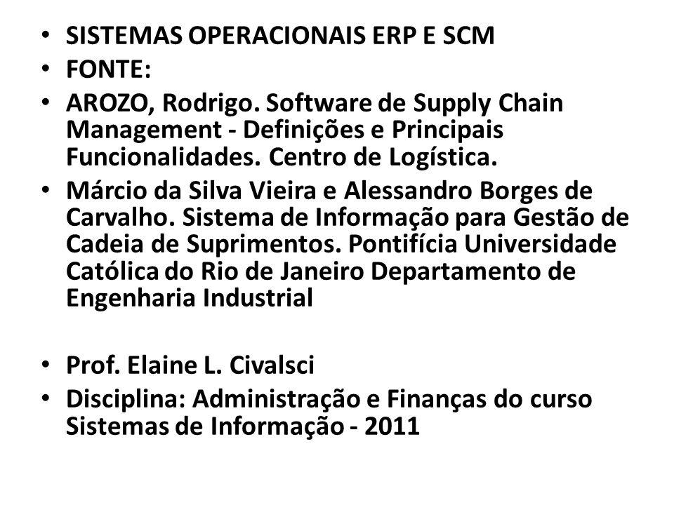 SISTEMAS OPERACIONAIS ERP E SCM FONTE: AROZO, Rodrigo. Software de Supply Chain Management - Definições e Principais Funcionalidades. Centro de Logíst