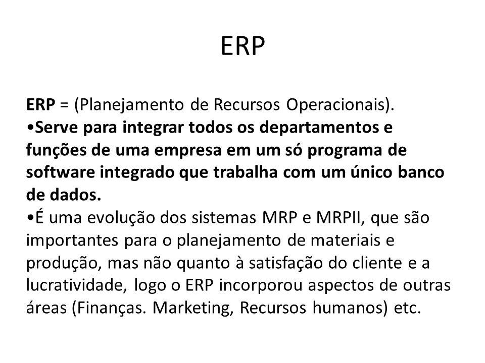 ERP ERP = (Planejamento de Recursos Operacionais).Serve para integrar todos os departamentos e funções de uma empresa em um só programa de software in