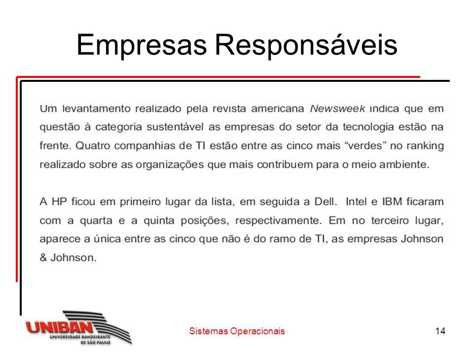 Sistemas Operacionais14 Empresas Responsáveis
