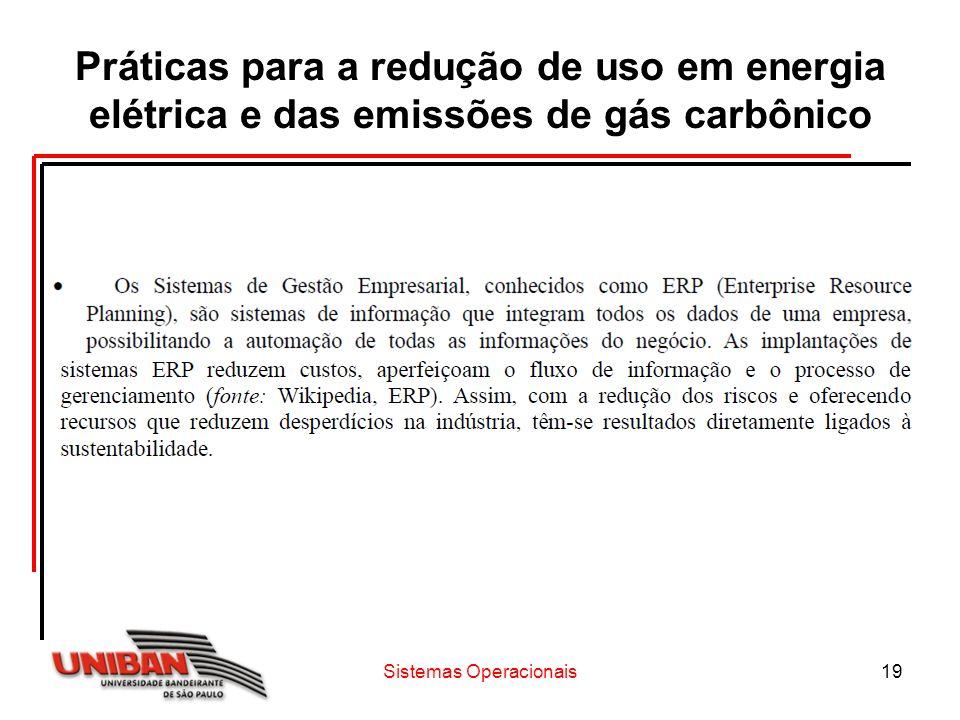 Sistemas Operacionais19 Práticas para a redução de uso em energia elétrica e das emissões de gás carbônico