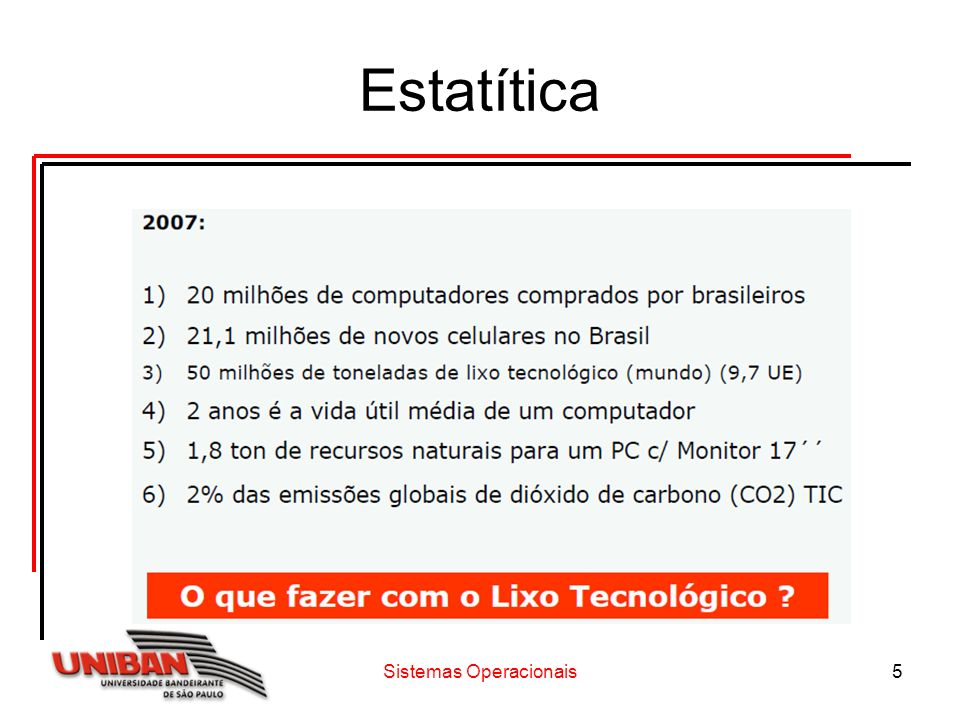 Sistemas Operacionais6 Destino do Lixo Tecnológico no Brasil