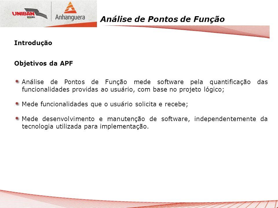 Análise de Pontos de Função Objetivos da APF Análise de Pontos de Função mede software pela quantificação das funcionalidades providas ao usuário, com