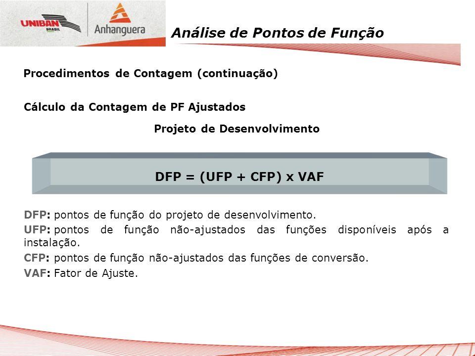 Análise de Pontos de Função Cálculo da Contagem de PF Ajustados Projeto de Desenvolvimento DFP:pontos de função do projeto de desenvolvimento. UFP:pon