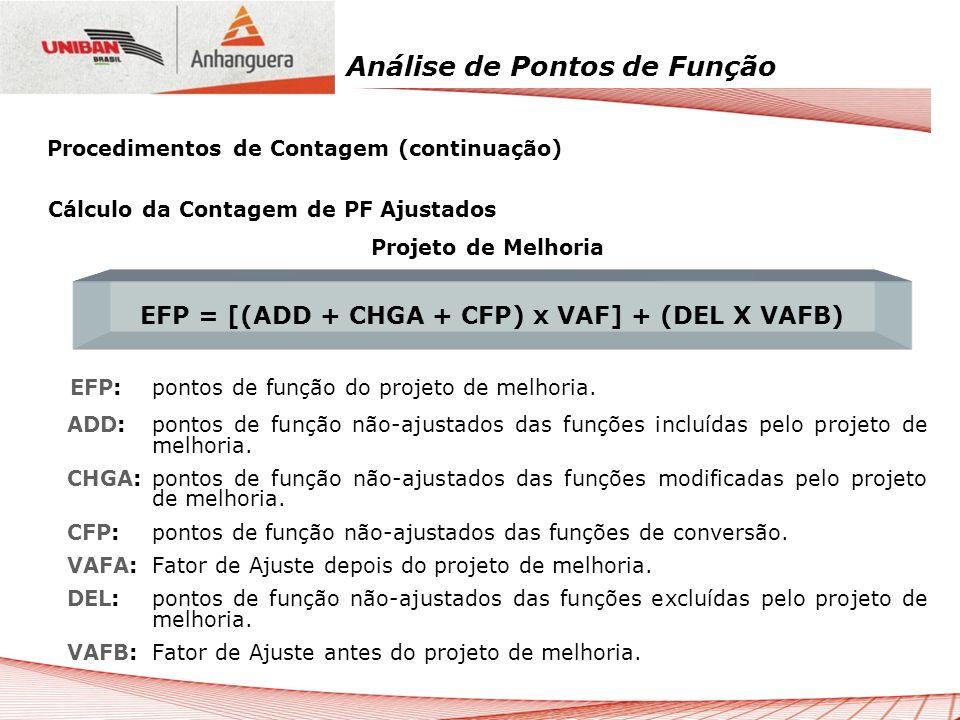 Análise de Pontos de Função Cálculo da Contagem de PF Ajustados Projeto de Melhoria EFP: pontos de função do projeto de melhoria. ADD: pontos de funçã