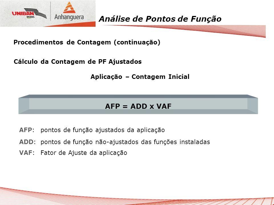 Análise de Pontos de Função Cálculo da Contagem de PF Ajustados Aplicação – Contagem Inicial AFP:pontos de função ajustados da aplicação ADD:pontos de