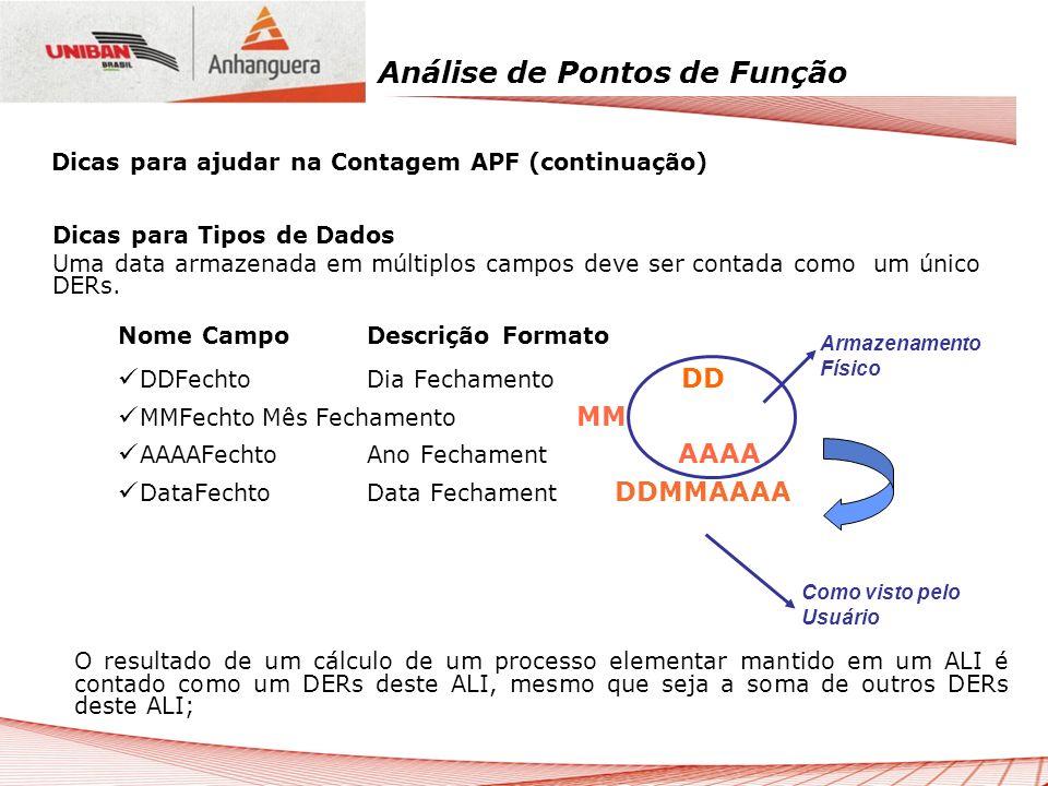 Análise de Pontos de Função Dicas para Tipos de Dados Uma data armazenada em múltiplos campos deve ser contada como um único DERs. Nome CampoDescrição