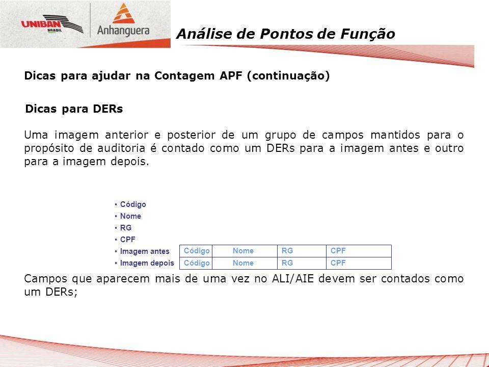 Análise de Pontos de Função Dicas para DERs Uma imagem anterior e posterior de um grupo de campos mantidos para o propósito de auditoria é contado com