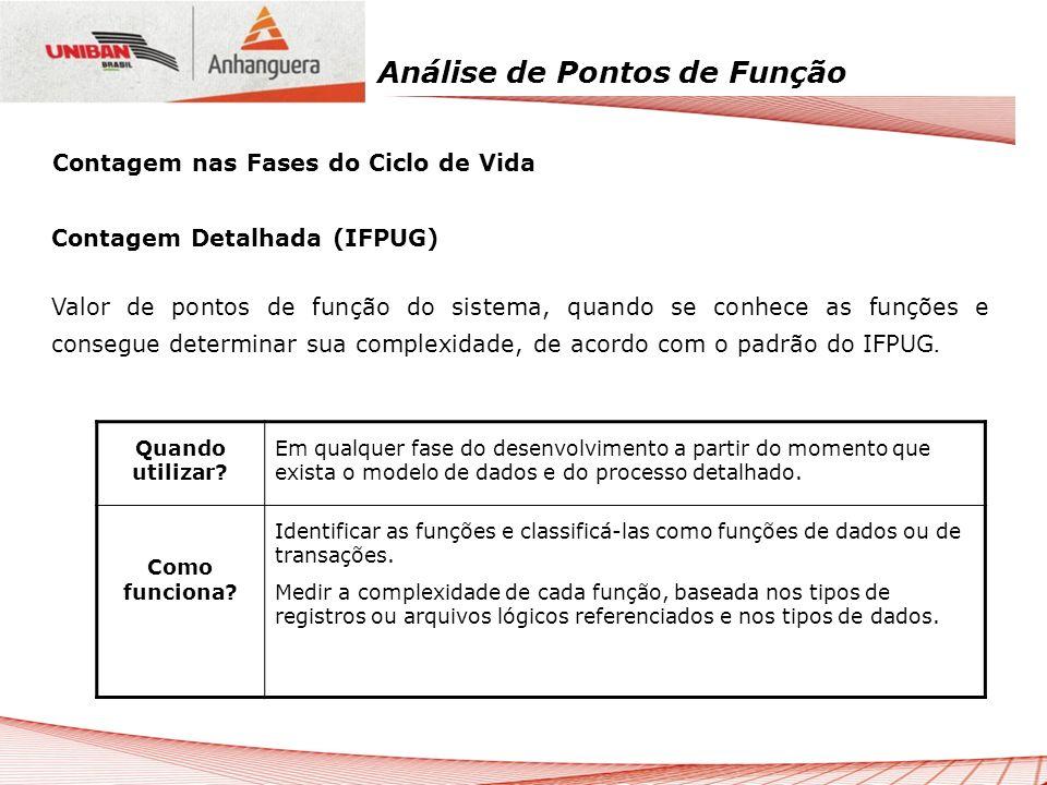 Análise de Pontos de Função Contagem Detalhada (IFPUG) Valor de pontos de função do sistema, quando se conhece as funções e consegue determinar sua co