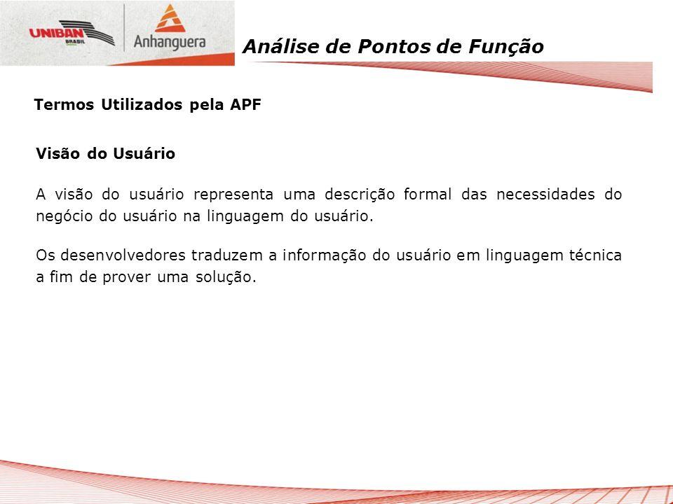 Análise de Pontos de Função Termos Utilizados pela APF Visão do Usuário A visão do usuário representa uma descrição formal das necessidades do negócio