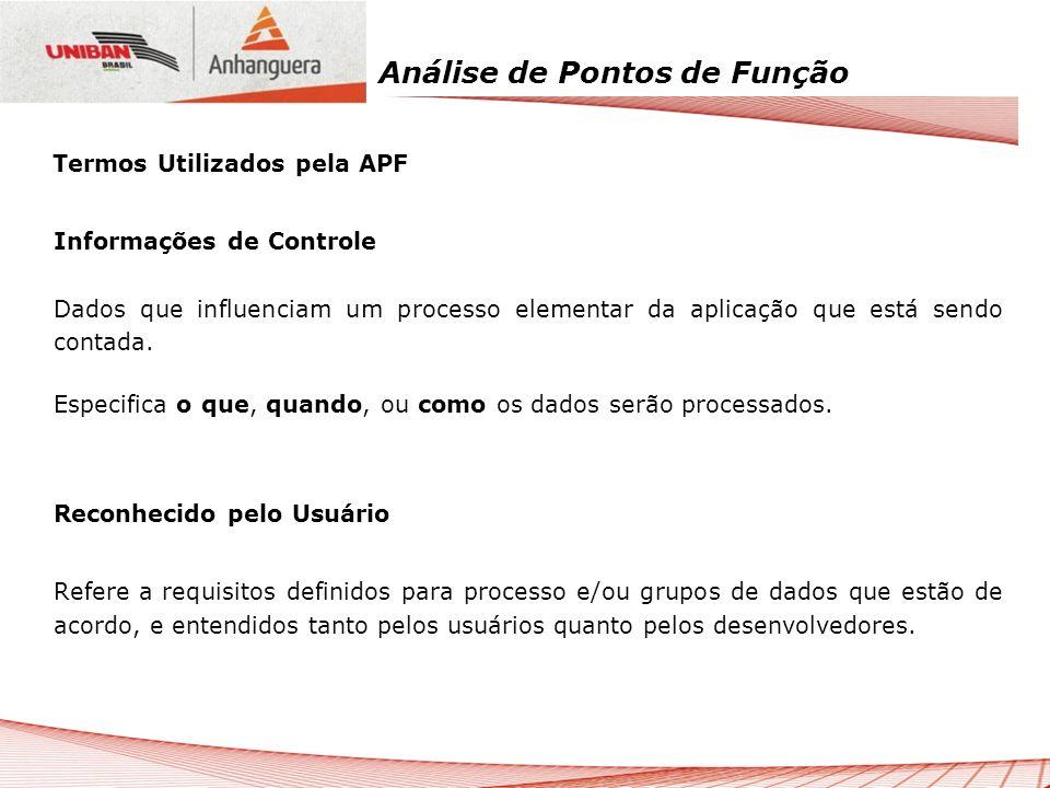 Análise de Pontos de Função Informações de Controle Dados que influenciam um processo elementar da aplicação que está sendo contada. Especifica o que,
