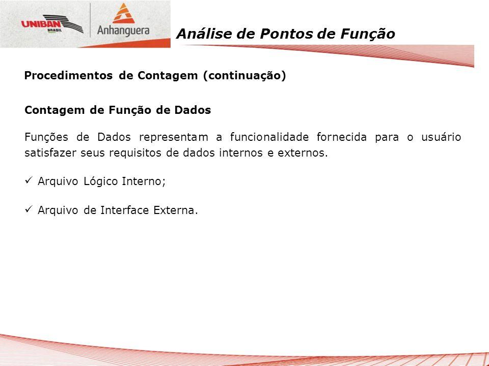 Análise de Pontos de Função Contagem de Função de Dados Funções de Dados representam a funcionalidade fornecida para o usuário satisfazer seus requisi