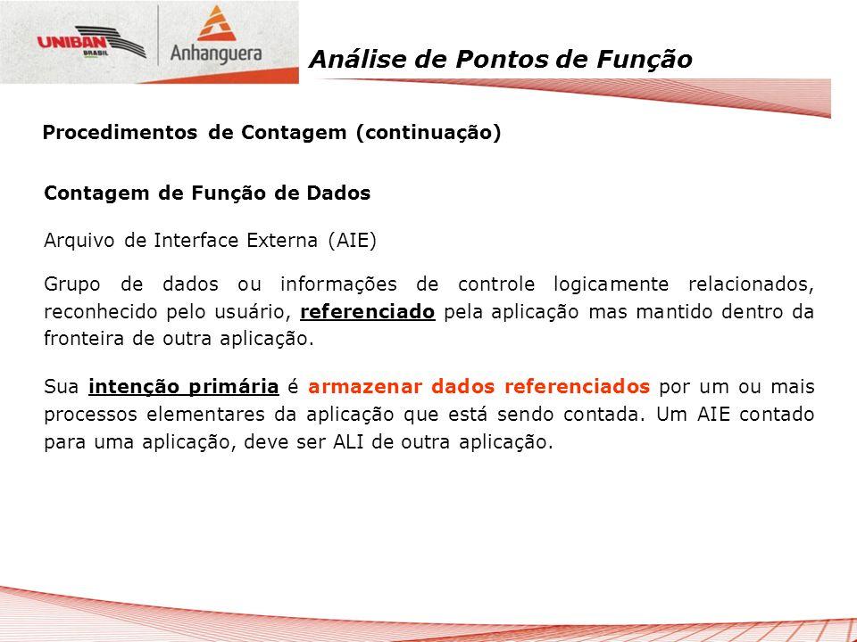 Análise de Pontos de Função Contagem de Função de Dados Arquivo de Interface Externa (AIE) Grupo de dados ou informações de controle logicamente relac