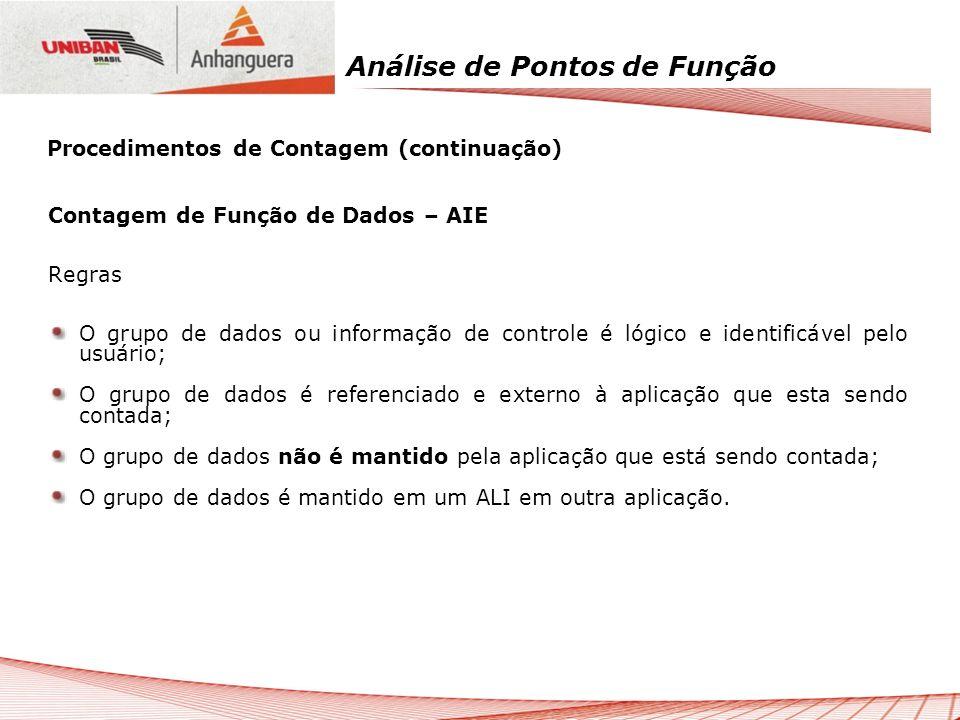 Análise de Pontos de Função Contagem de Função de Dados – AIE Regras O grupo de dados ou informação de controle é lógico e identificável pelo usuário;