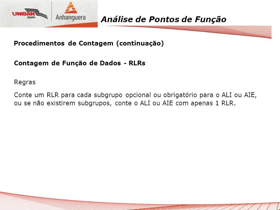 Análise de Pontos de Função Contagem de Função de Dados - RLRs Regras Conte um RLR para cada subgrupo opcional ou obrigatório para o ALI ou AIE, ou se