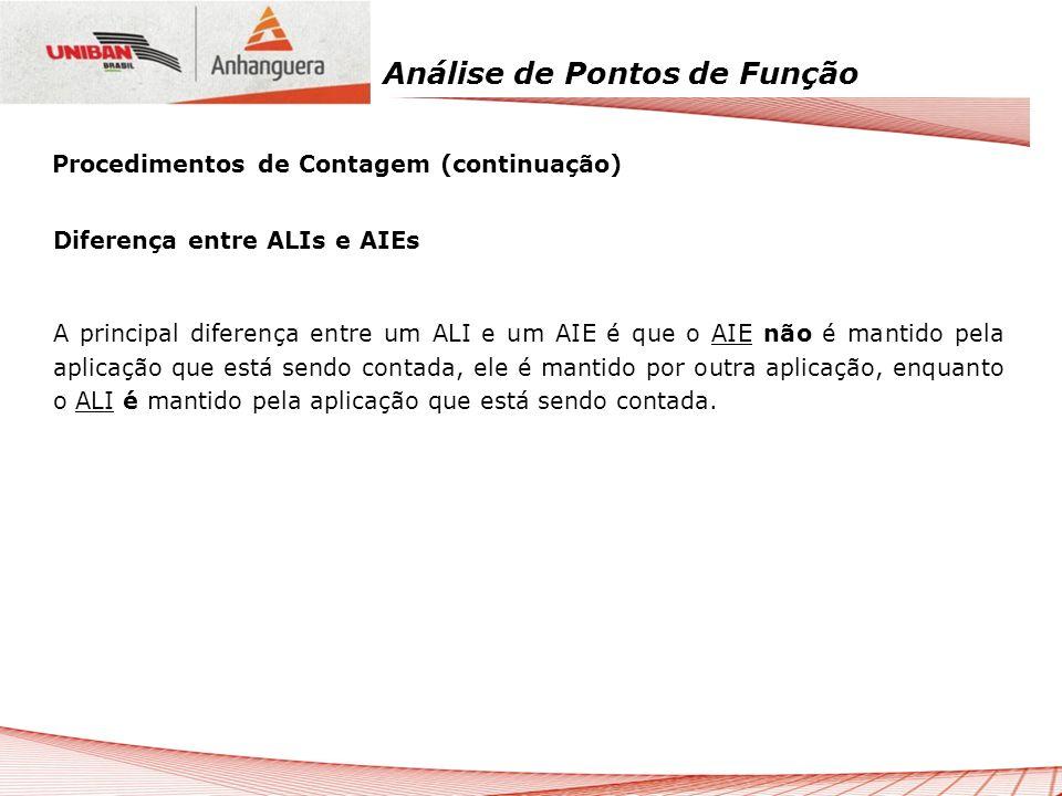 Análise de Pontos de Função Diferença entre ALIs e AIEs A principal diferença entre um ALI e um AIE é que o AIE não é mantido pela aplicação que está