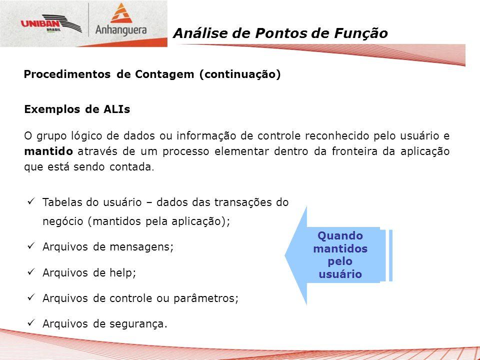 Análise de Pontos de Função Exemplos de ALIs O grupo lógico de dados ou informação de controle reconhecido pelo usuário e mantido através de um proces
