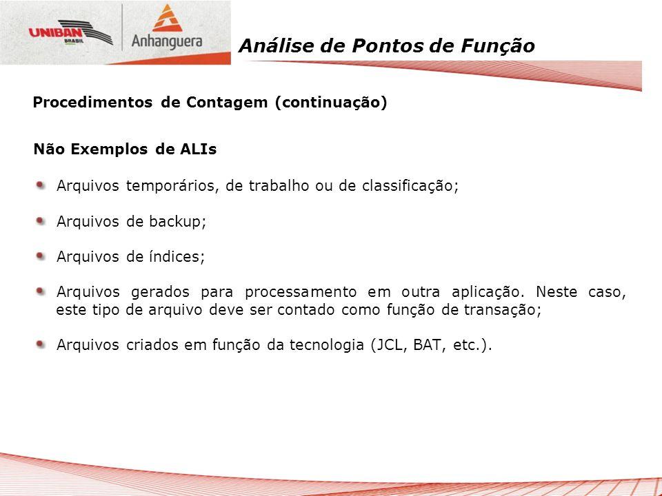 Análise de Pontos de Função Não Exemplos de ALIs Arquivos temporários, de trabalho ou de classificação; Arquivos de backup; Arquivos de índices; Arqui