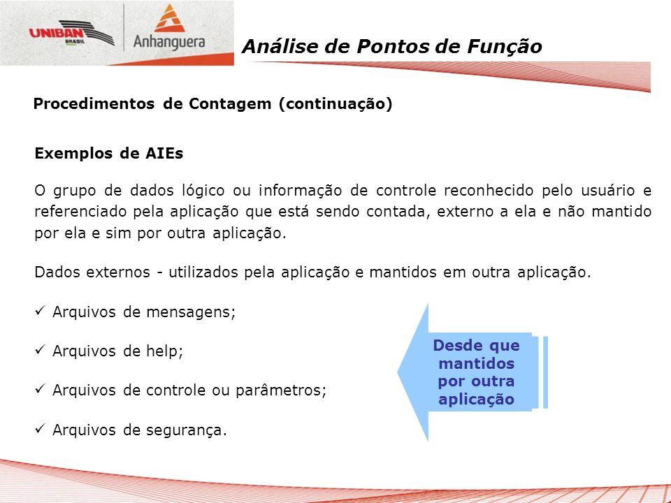 Análise de Pontos de Função Exemplos de AIEs O grupo de dados lógico ou informação de controle reconhecido pelo usuário e referenciado pela aplicação
