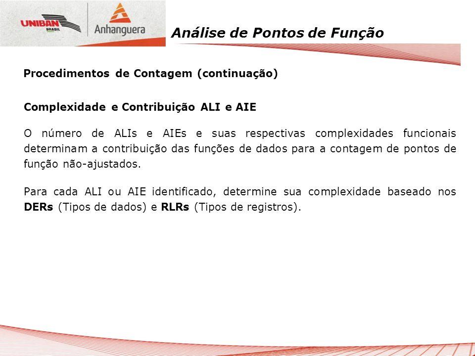 Análise de Pontos de Função Complexidade e Contribuição ALI e AIE O número de ALIs e AIEs e suas respectivas complexidades funcionais determinam a con
