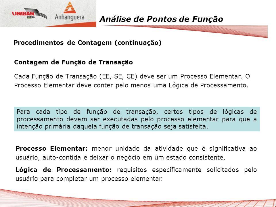 Análise de Pontos de Função Contagem de Função de Transação Cada Função de Transação (EE, SE, CE) deve ser um Processo Elementar. O Processo Elementar