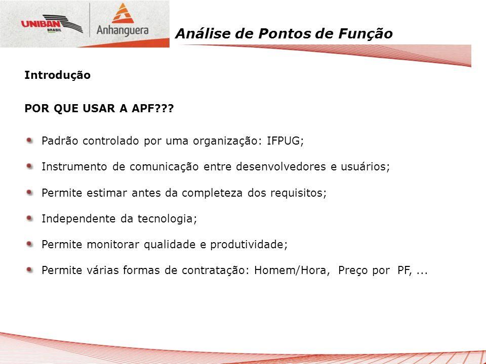 Análise de Pontos de Função Contagem Detalhada (IFPUG) Valor de pontos de função do sistema, quando se conhece as funções e consegue determinar sua complexidade, de acordo com o padrão do IFPUG.