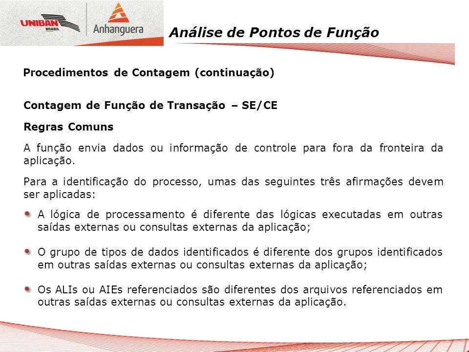 Análise de Pontos de Função Contagem de Função de Transação – SE/CE Regras Comuns A função envia dados ou informação de controle para fora da fronteir