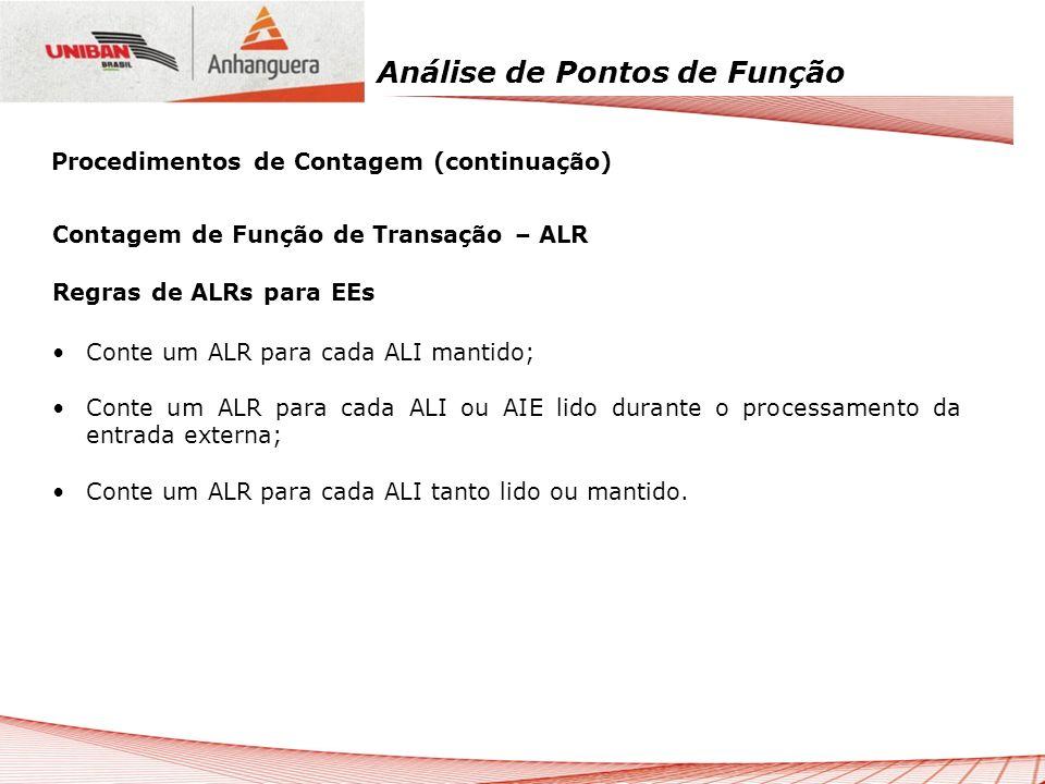 Análise de Pontos de Função Contagem de Função de Transação – ALR Regras de ALRs para EEs Conte um ALR para cada ALI mantido; Conte um ALR para cada A
