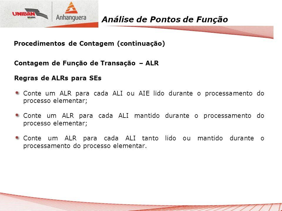 Análise de Pontos de Função Contagem de Função de Transação – ALR Regras de ALRs para SEs Conte um ALR para cada ALI ou AIE lido durante o processamen