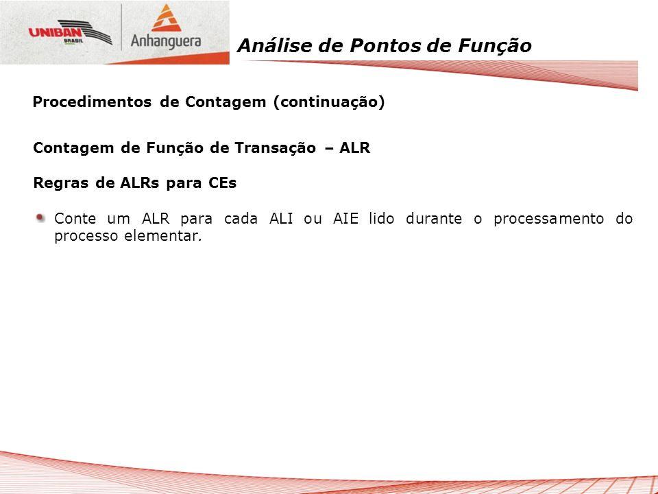 Análise de Pontos de Função Contagem de Função de Transação – ALR Regras de ALRs para CEs Conte um ALR para cada ALI ou AIE lido durante o processamen