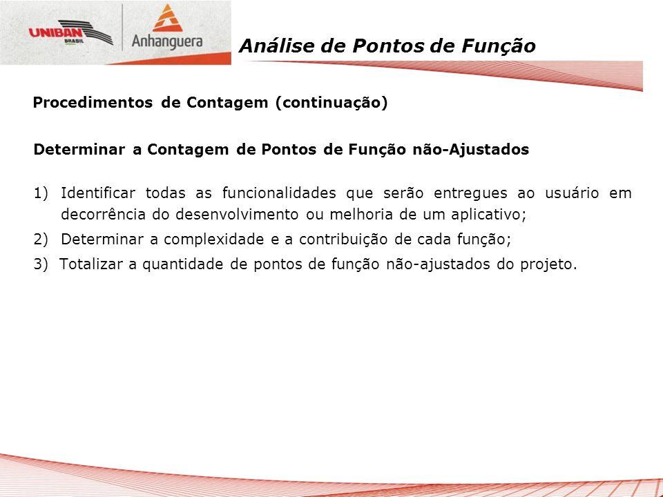 Análise de Pontos de Função Determinar a Contagem de Pontos de Função não-Ajustados 1)Identificar todas as funcionalidades que serão entregues ao usuá
