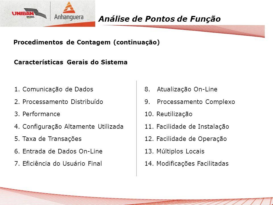 Análise de Pontos de Função Características Gerais do Sistema 8. Atualização On-Line 9. Processamento Complexo 10. Reutilização 11. Facilidade de Inst