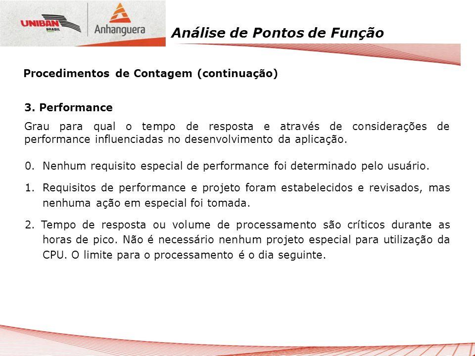Análise de Pontos de Função 3. Performance Grau para qual o tempo de resposta e através de considerações de performance influenciadas no desenvolvimen