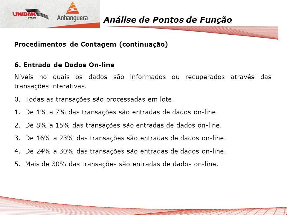 Análise de Pontos de Função 6. Entrada de Dados On-line Níveis no quais os dados são informados ou recuperados através das transações interativas. 0.