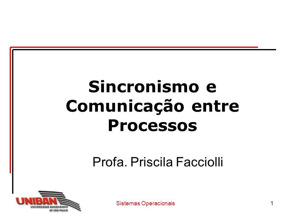 Sistemas Operacionais1 Sincronismo e Comunicação entre Processos Profa. Priscila Facciolli