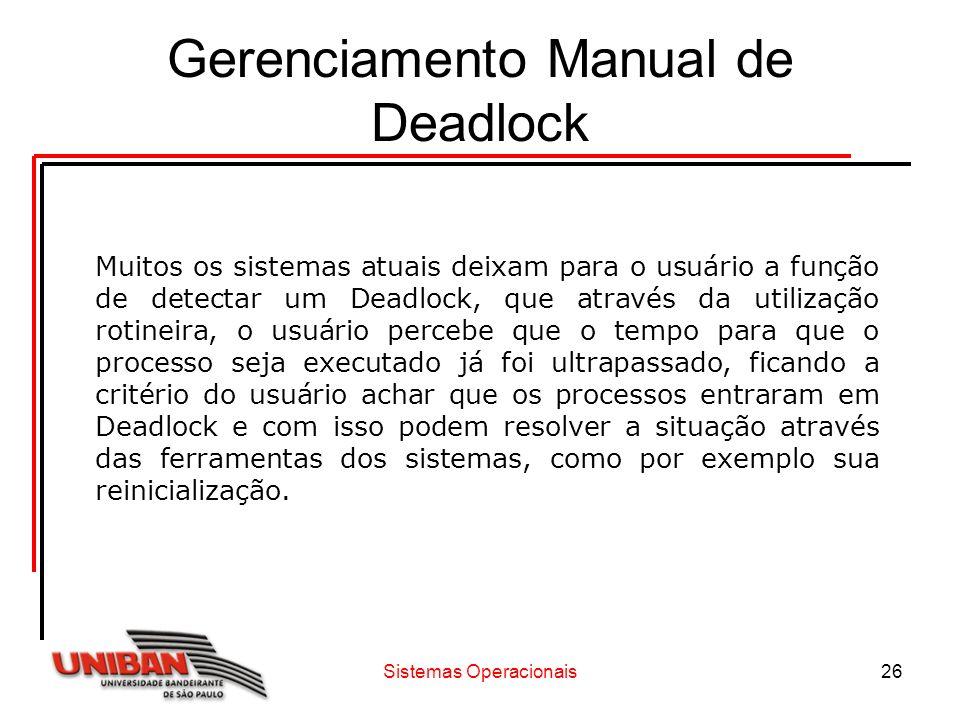 Sistemas Operacionais26 Gerenciamento Manual de Deadlock Muitos os sistemas atuais deixam para o usuário a função de detectar um Deadlock, que através