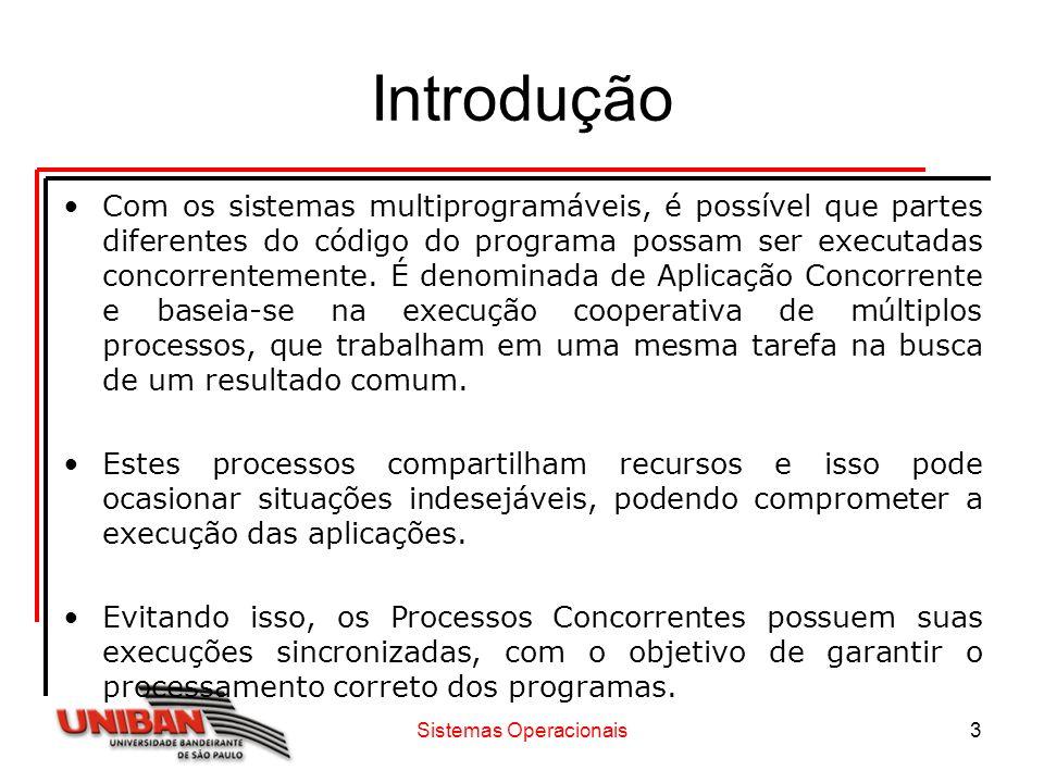 Sistemas Operacionais3 Introdução Com os sistemas multiprogramáveis, é possível que partes diferentes do código do programa possam ser executadas conc