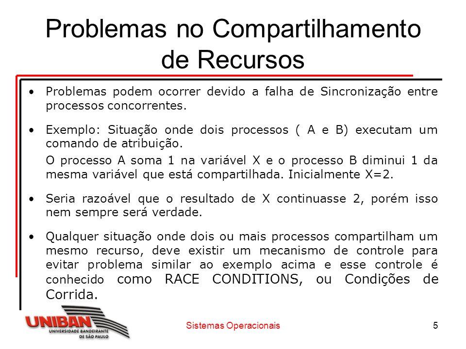Sistemas Operacionais5 Problemas no Compartilhamento de Recursos Problemas podem ocorrer devido a falha de Sincronização entre processos concorrentes.
