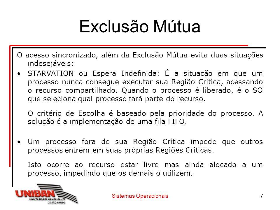 Sistemas Operacionais7 Exclusão Mútua O acesso sincronizado, além da Exclusão Mútua evita duas situações indesejáveis: STARVATION ou Espera Indefinida